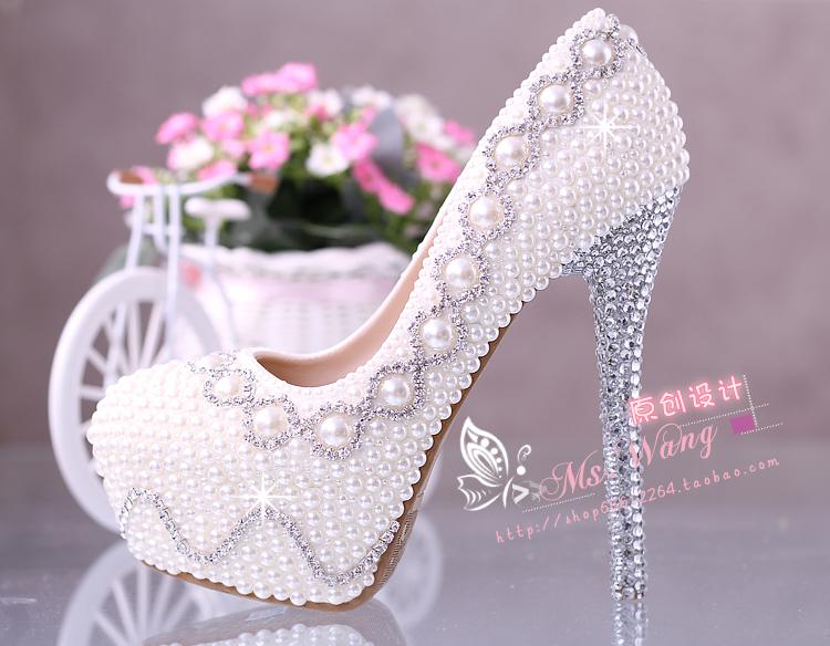 珍珠水钻新娘鞋白色超高跟鞋