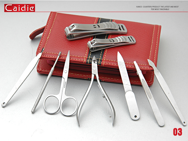 Fashion Red Stainless Steel Manicure Set 9Pcs