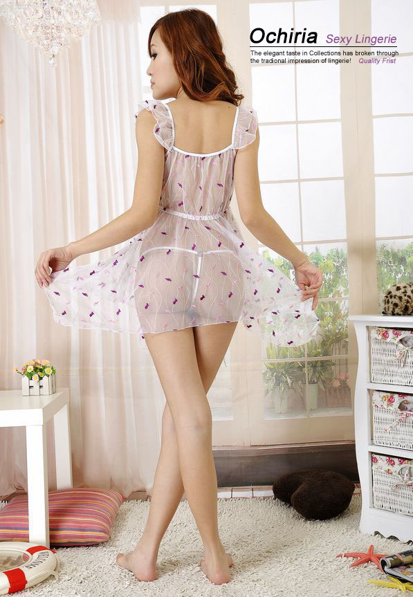 European posture Liya Classic Terylene Lace Braces Women Sleepwear Dress & Thong Set