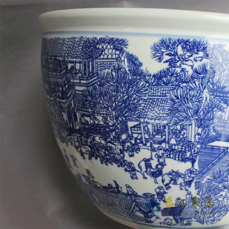 YY15景德镇精品陶瓷瓷器平口鱼缸水缸大缸花盆水培多用缸图案多