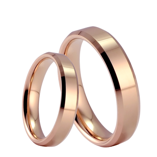 Plated Rose Gold Tungsten Gold Wedding Rings Couple Rings Lovers