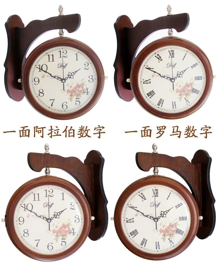 Duff Solid wood double-sided wall clock bell Korean garden living room mute clock creative fashion pocket watch clock 183