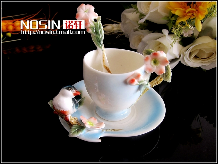 Nosin Enamel cherry blossom bird ceramic coffee cup China cups gift lovers cups