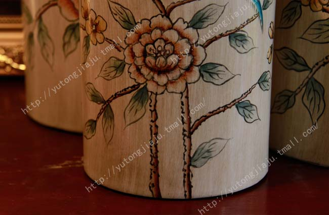 Rain Tong 7 fold 551.6 yuan elegant Chinese ceramic ornaments / American country mix / hand painted hibiscus flowers and birds jar crafts