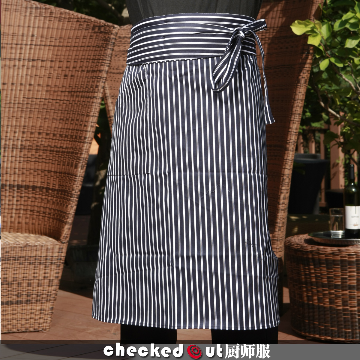 Checked Pure cotton 830,618 hotel bar Western Cafe waiter aprons kitchen supplies work clothes