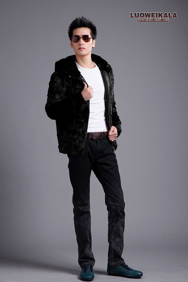 Rowe Carla Rowe Kara 2013 new Haining imported mink fur coat fur mink coat male Hooded N - 3