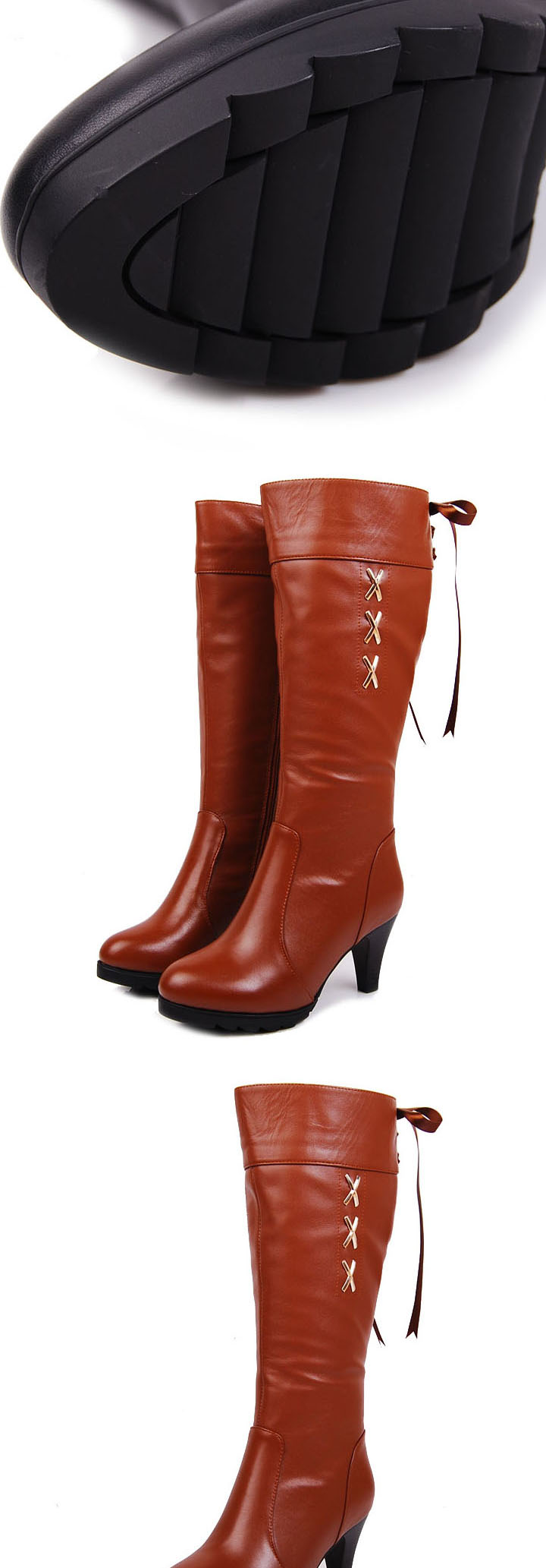 Veegol-HG Christmas special high-grade leather shoes the first layer of Ribbon side zips leather platform high heel boots women's boots