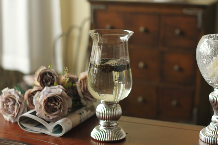 BH home American neo-classical post-modern minimalist silver goblets clear glass vase bottom flower candlestick Home Decoration
