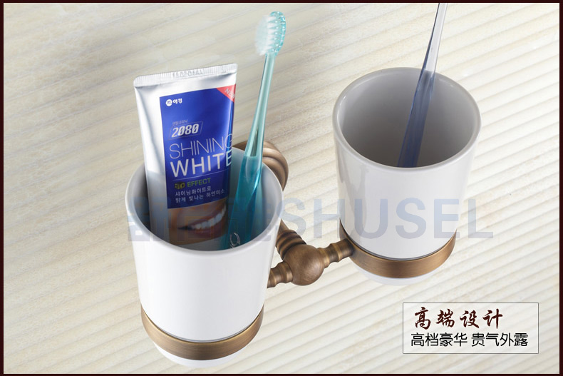 SHUSEL Shu Shangya Shu Shangya luxury European antique copper dual cupholders brush cup ceramic cup holder cup holder Wash Kit