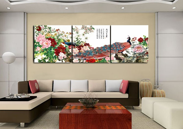 The hi-European XIOU furnishings Hi European style frameless painting peacock painting Peony Blossoming living room bedroom decoration Wall Murals