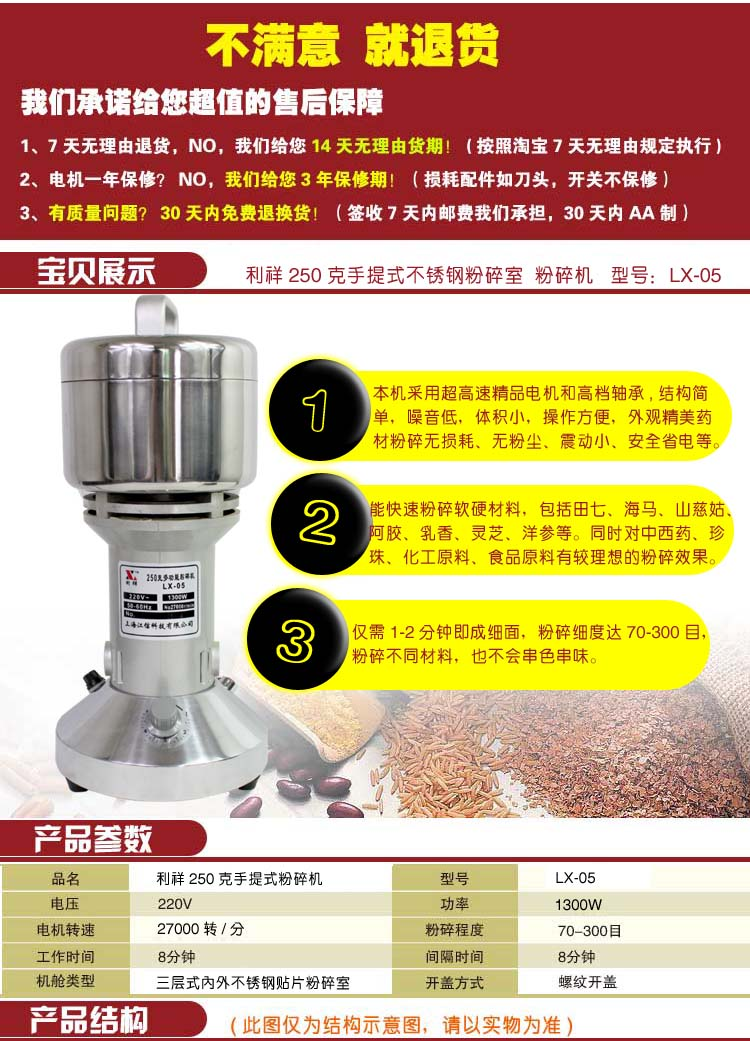 Lee Cheung 250 grams of stainless steel grinder herbs small household food mill powder machine electric grinder
