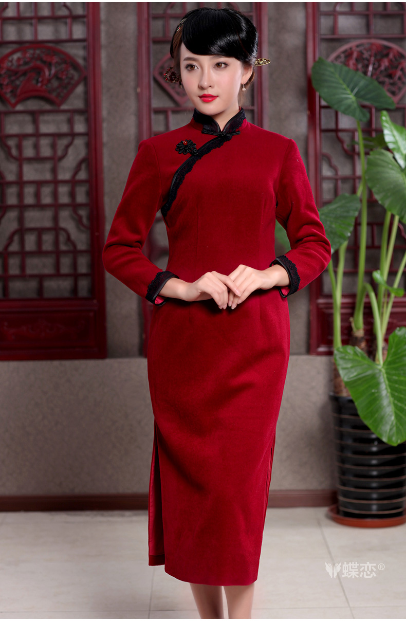 Butterfly Lovers 2015 spring new cheongsam dress stylish and refined lace decor wool is cultivating skirt 49,110 wine red XXL pictures, price, brand platters! Elections are good character, the national distribution, so why buy now enjoy more preferential! Health