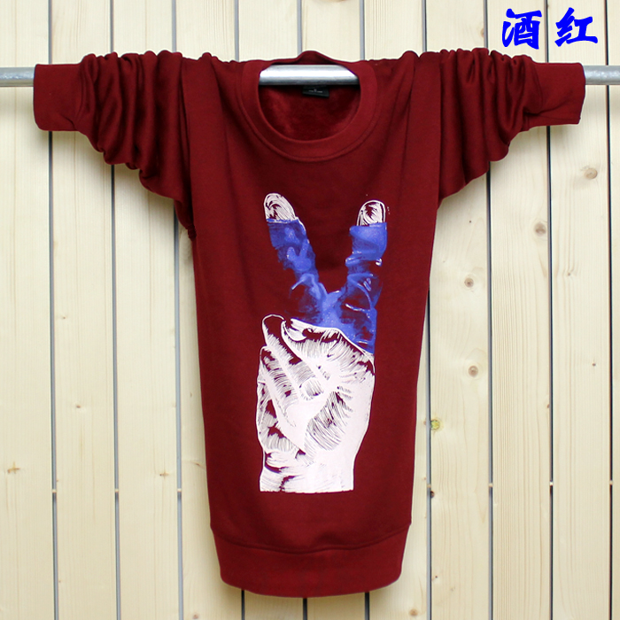 Футболка мужская Внешняя торговля, добавляя удобрения для повышения Мужская с длинным рукавом мужчины сгущать спортивный t рубашка хлопок t рубашки вокруг шеи осенью и зимой плюс флис Мужская с длинным рукавом