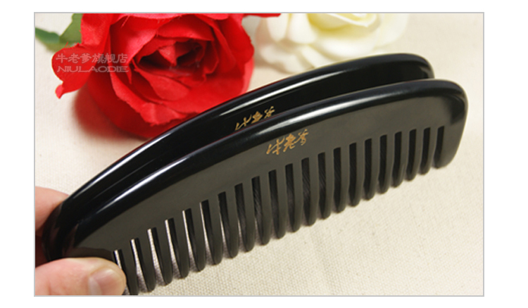 Health comb natural wide tooth hair massage p.Diddy anti-static black Buffalo Horn comb