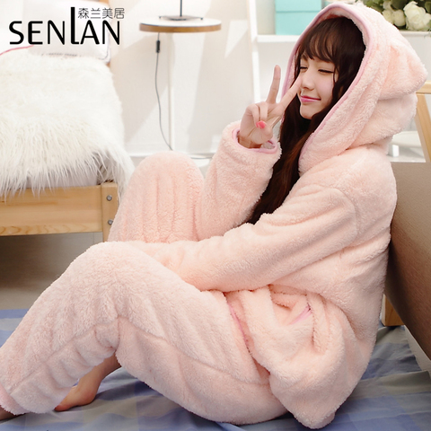 新款珊瑚绒睡衣女冬加厚长袖卡通连帽家居服韩版可爱保暖睡衣套装