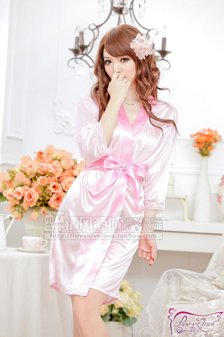 Classic Soft Lace Solid Women Sleepwear Dress & Waistband & Thong Set