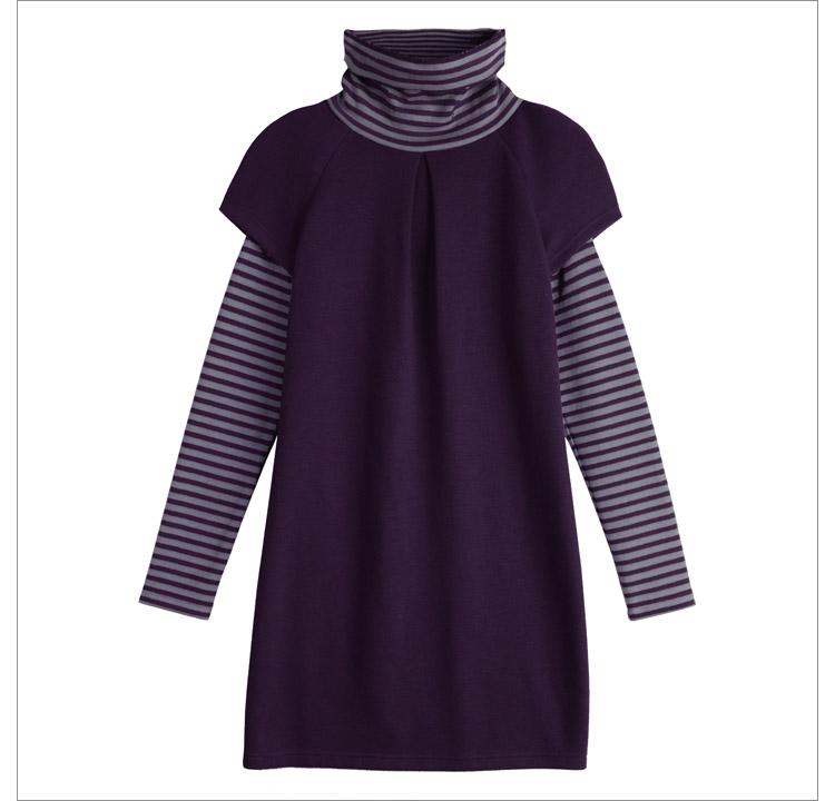 欧莎服饰韩版假两件套大码修身长袖连衣裙