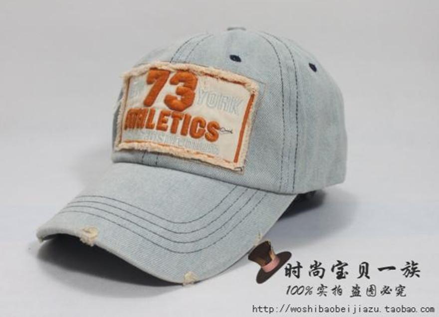 Головной убор Корейский джинсовая промывают денима кромки письмо бейсбол Кап дамы шляпу ЧАО солнцезащитный козырек Hat Cap мужчин