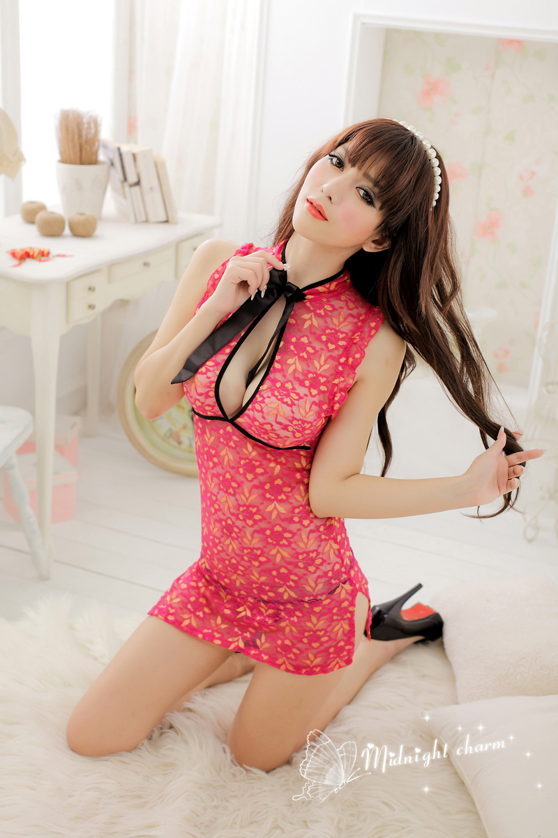 Night Fire Lace Sexy Side Slits Cheongsam Pajamas Set