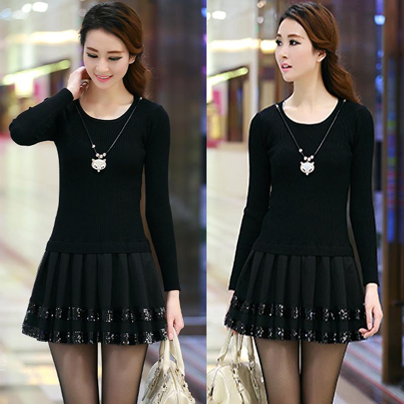 Женское платье Брат новое платье для осень/зима стразами кружева шитье темперамент длинные тонкие Корейский базовый свитер платье