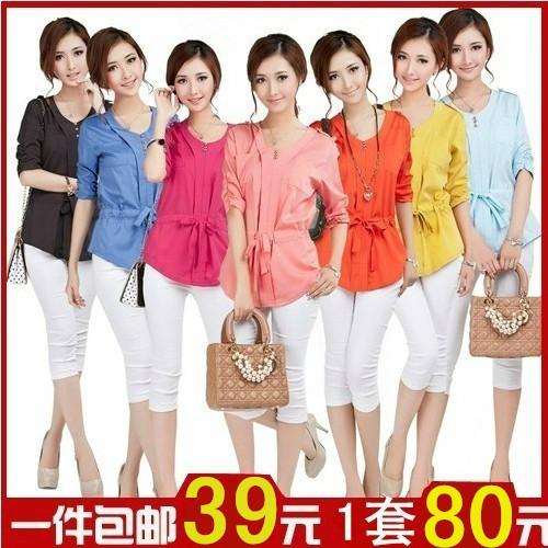 женская рубашка Лето 2014 новые корейские женщины носят длинные рубашки женские короткие конце мягкой шифон рубашку блузка рубашка