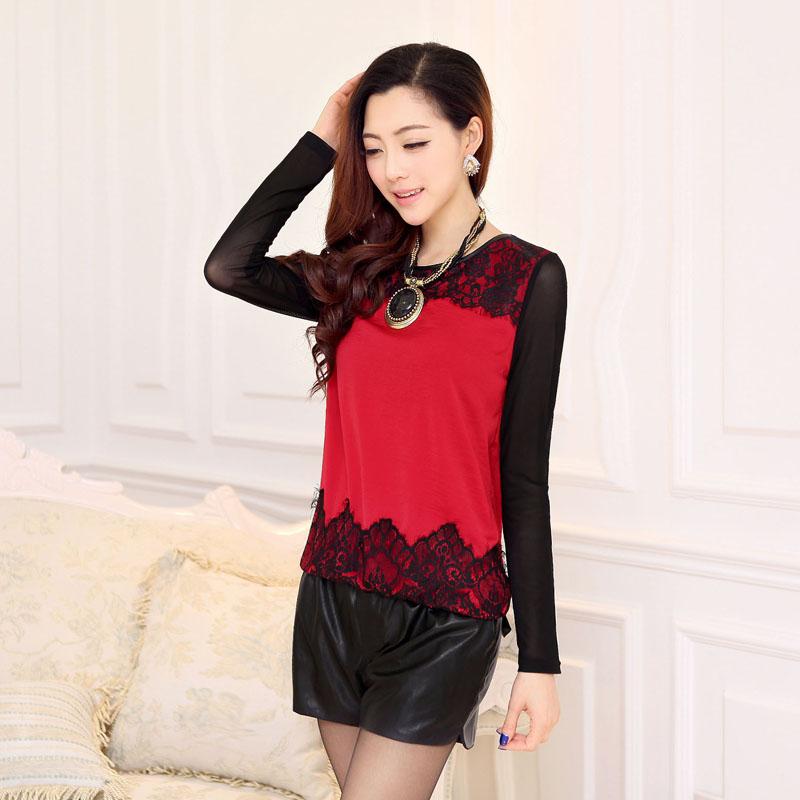 Блузка 2014 Весна новой корейской версии тонкий Джокер головы базовый атласная бархат + кружева шитье t рубашка с длинным рукавом