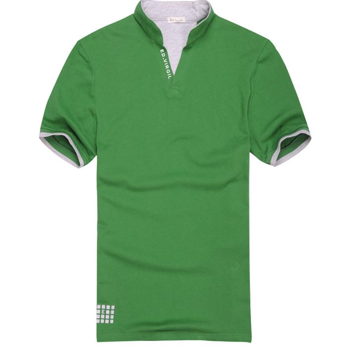 Футболка мужская Отправить новое лето 2014 короткие t рубашка в корейской версии воротник мужской t рубашки тонкий всплеск половина рукава