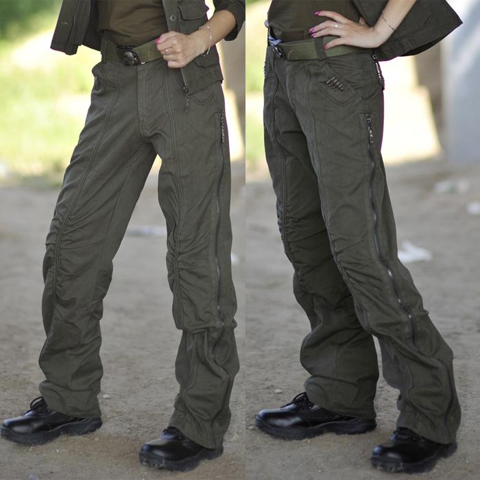 Брюки Свободу райдеры веером в новой армии брюки талии Pocket оригинальный зеленый армии дамы брюки женщин широкие брюки