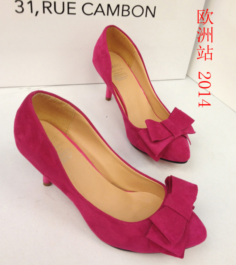 туфли Корейской версии сладких Европы 2014 года новые туфли высокие каблуки с бантом OL тонкий каблук Женская обувь