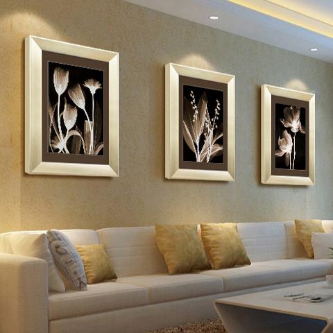 客厅装饰画现代简约式沙发背景墙三联餐厅壁画玄关挂画欧式有框画