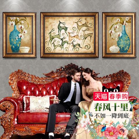 客厅装饰画沙发背景墙挂画三联美式壁画餐厅玄关墙画现代欧式油画